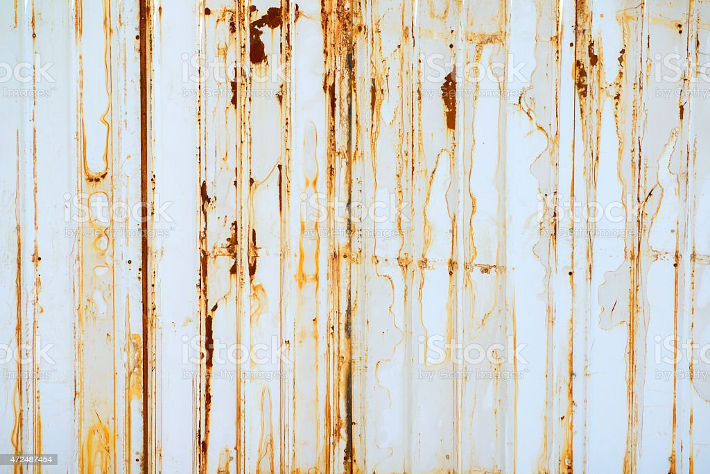 rusted  corrugated steel sheet.  stock photo