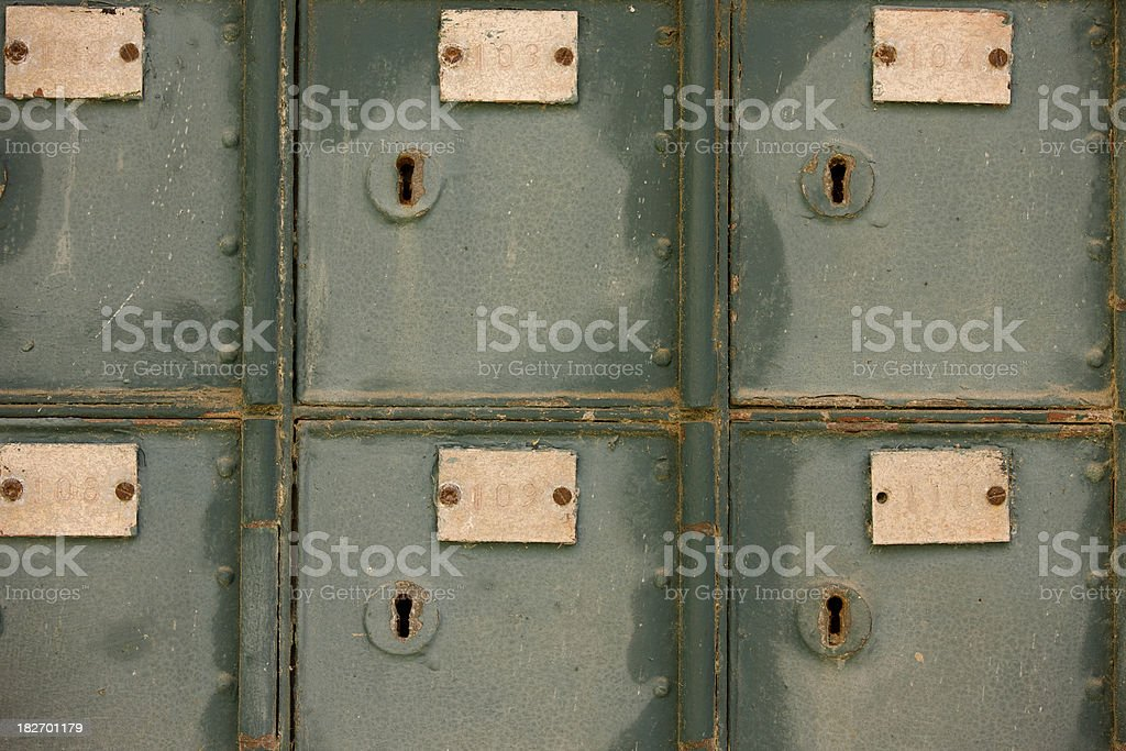 Rusted Crude Olive Green Post Office Boxes, Grunge royalty-free stock photo