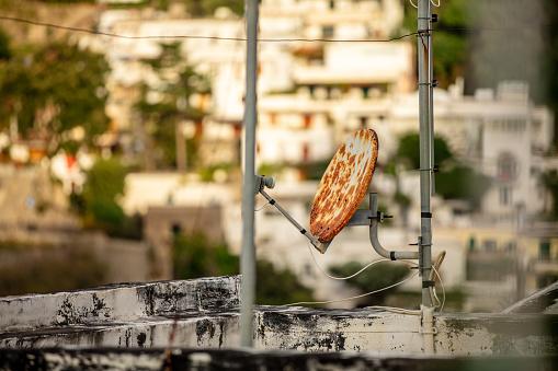 Rusted Dish And Positano Town At Amalfi,Italy