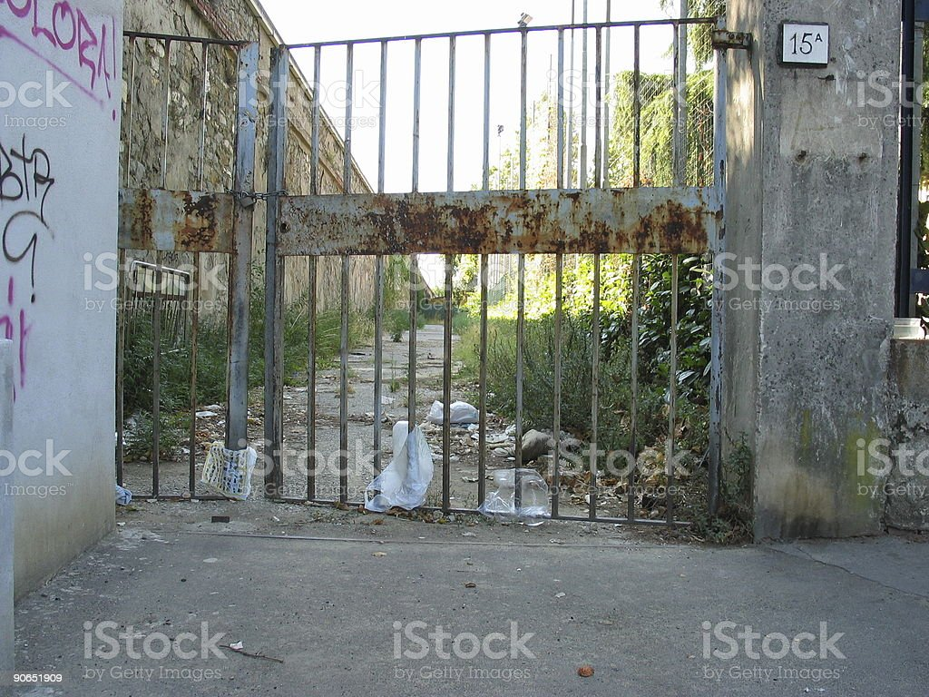 Rusted gate stock photo