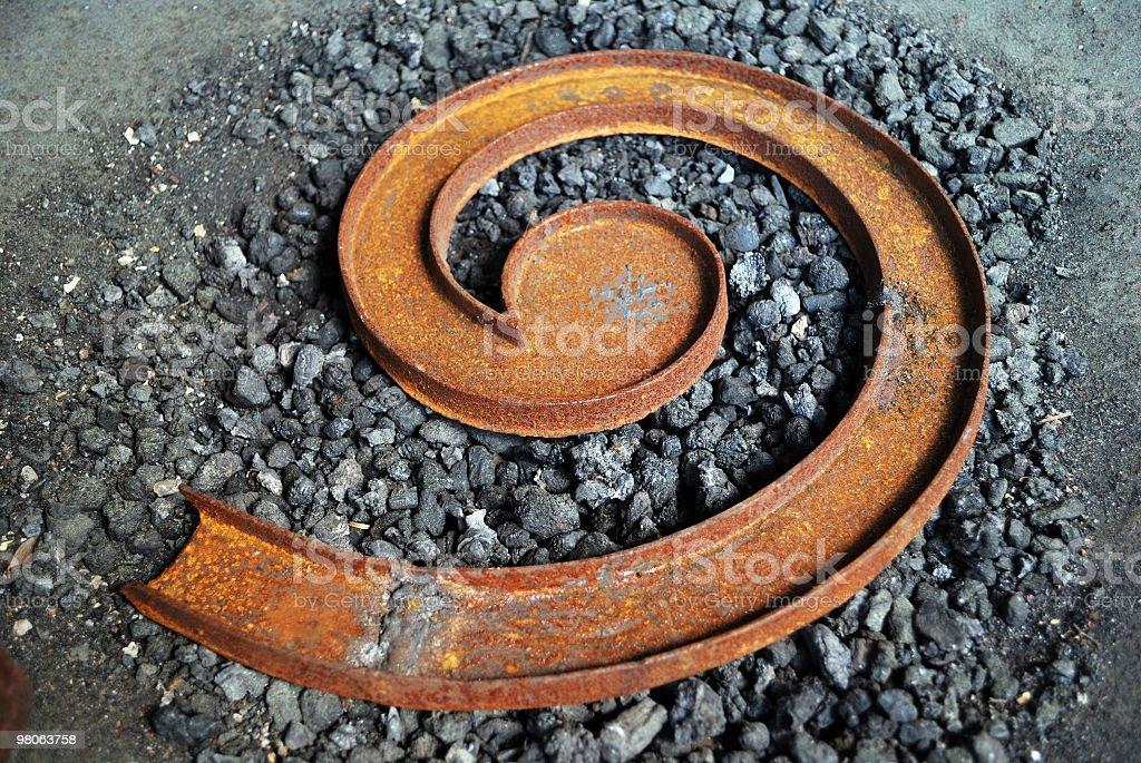Arrugginita ferro Smelt spirale somiglia a Internet (Grunge simbolo @ foto stock royalty-free