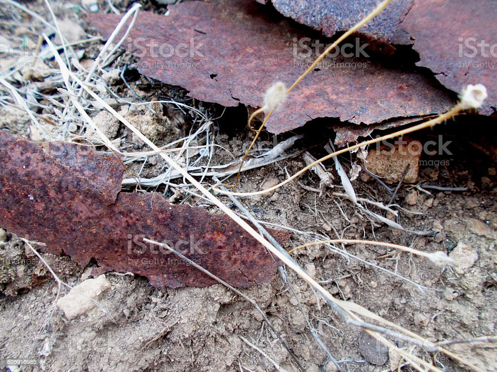 Rusted metal and dirt stock photo