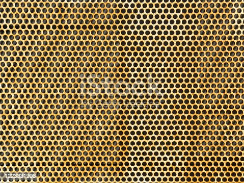 Rusted metal plate with holes