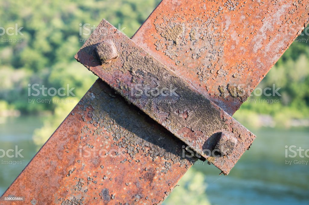 Rusted Metal Support Beam stock photo