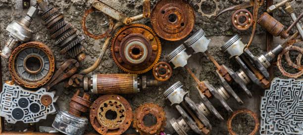 Rusted metallic car parts. stock photo