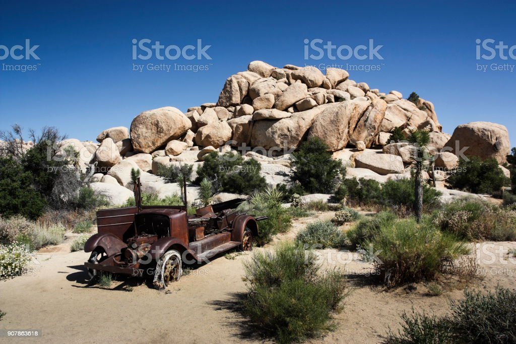 Rusted Old Car in Joshua Tree National Park stock photo