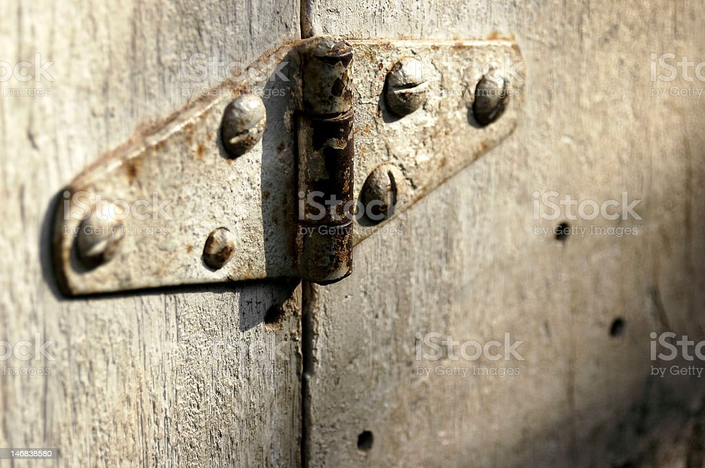 Rusted old hinge royalty-free stock photo