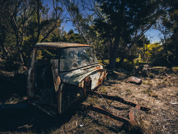 Rusted old truck in the blue mountains stock photo