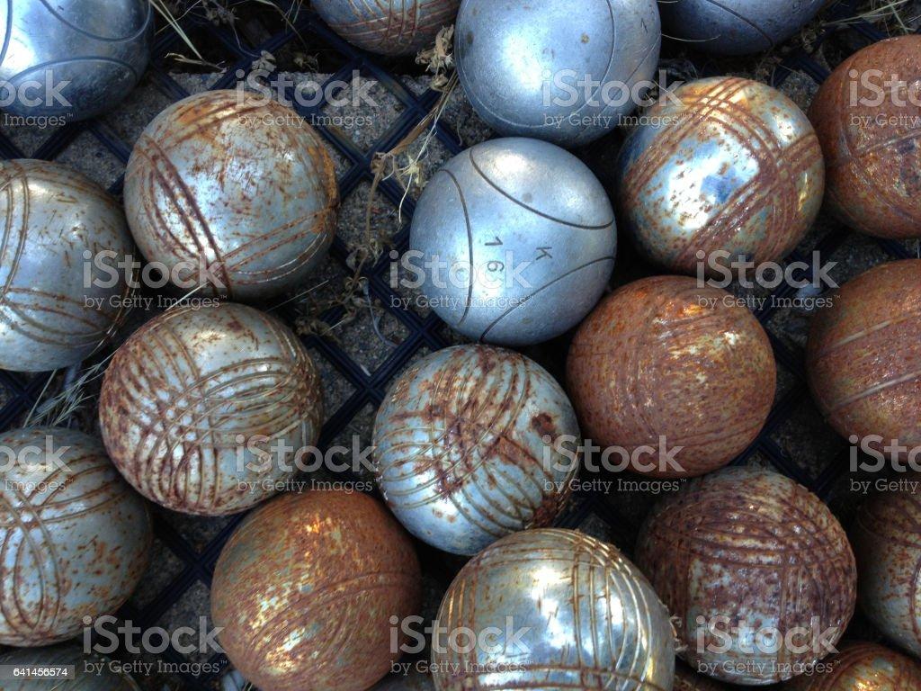 Rusted Petanque balls stock photo