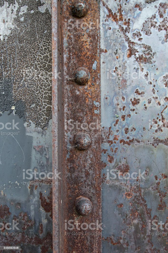 Rusted Rivets in Angle Iron stock photo