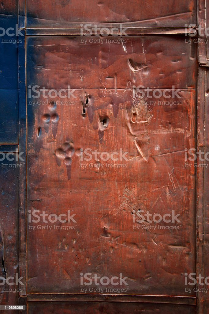 Rusted Steel and Copper Door Background Texture royalty-free stock photo