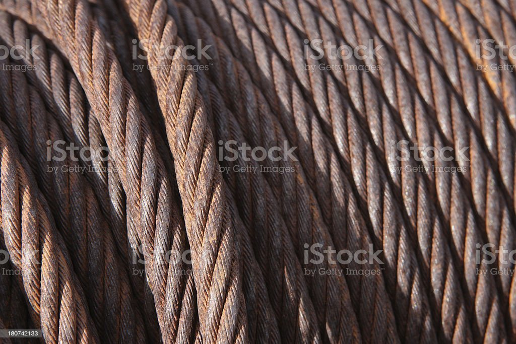 Rusted braided steel cable on a spool. Jerome, Arizona, 2012.