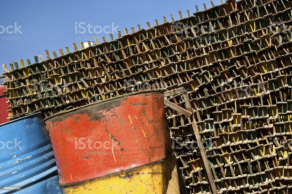 Rusted steel in a scrapyard royalty-free stock photo