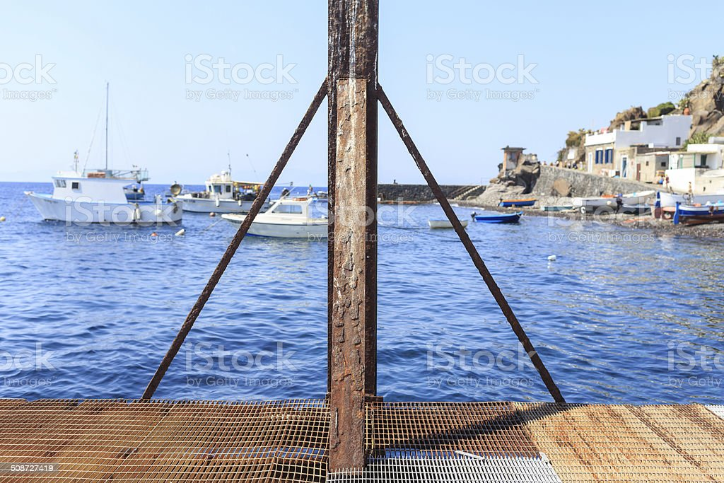 Rusted steel jetty stock photo