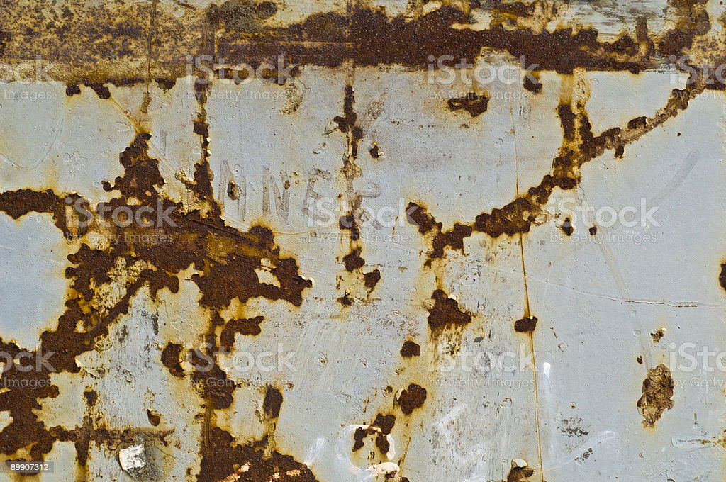 Rusted steel plate with gray paint royalty-free stock photo