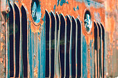 Rusted vents on an old locomotive