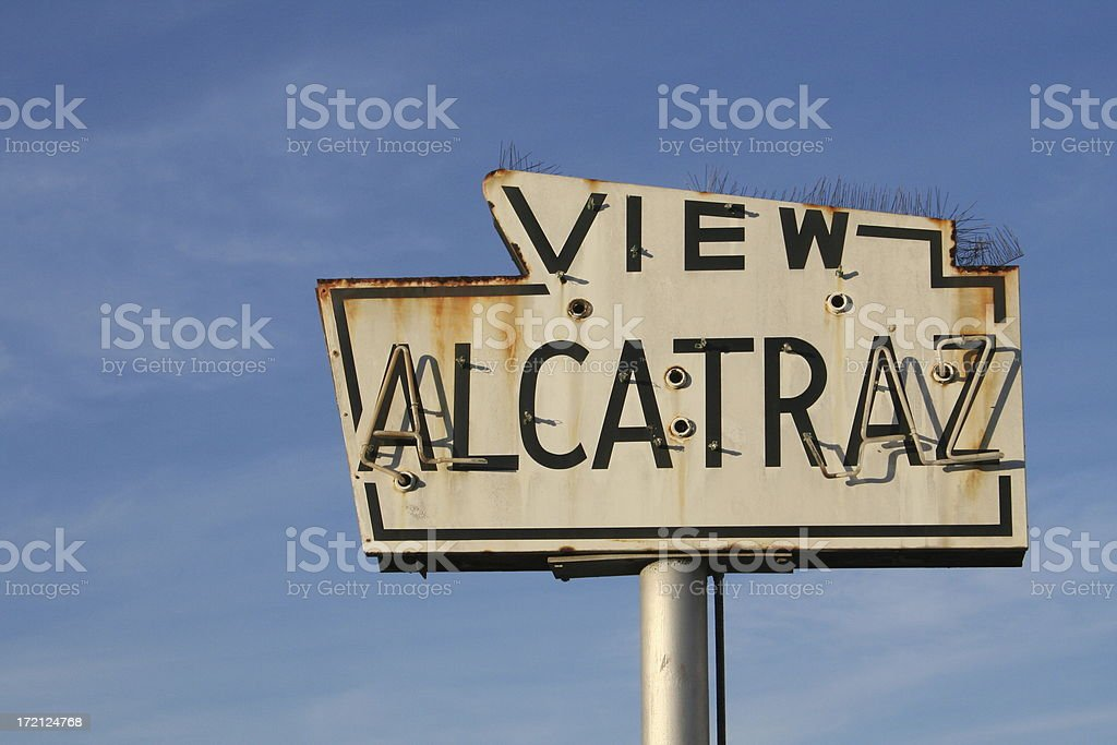Rusted View Alcatraz sign with blue sky in background stock photo