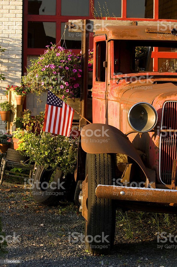 Rusted Vintage Truck & Old Glory royalty-free stock photo