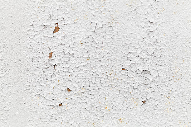 rusted white metal wall with cracks, background texture - peeled stock photos and pictures