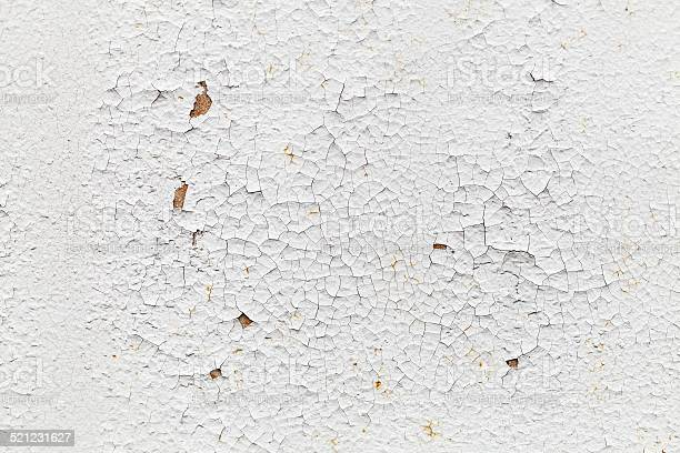 Rusted White Metal Wall With Cracks Background Texture Stockfoto en meer beelden van Abstract