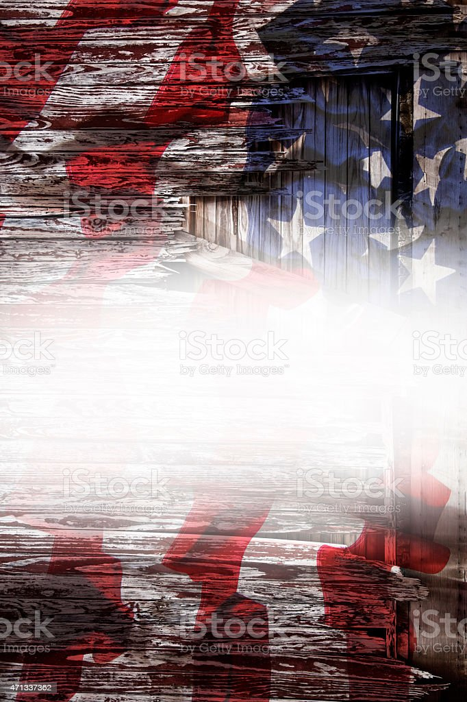 Rustic American Flag With White Copyspace Overlay Patriotism