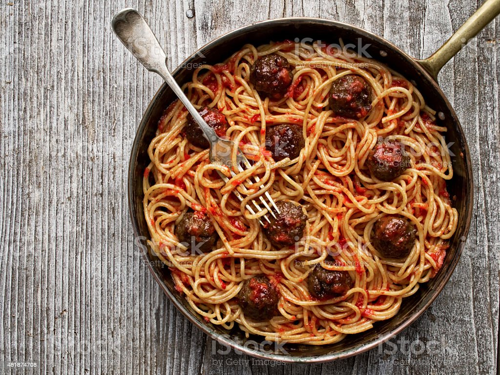 rustic american italian meatball spaghetti stock photo