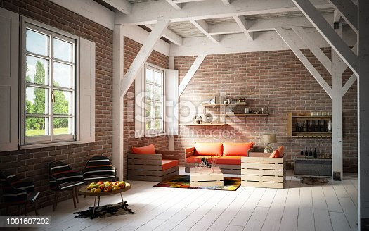 Digitally generated warm, rustic and cozy home interior design with DIY pallet furniture, high quality pelts and rugs.  The scene was rendered with photorealistic shaders and lighting in Autodesk® 3ds Max 2016 with V-Ray 3.6
