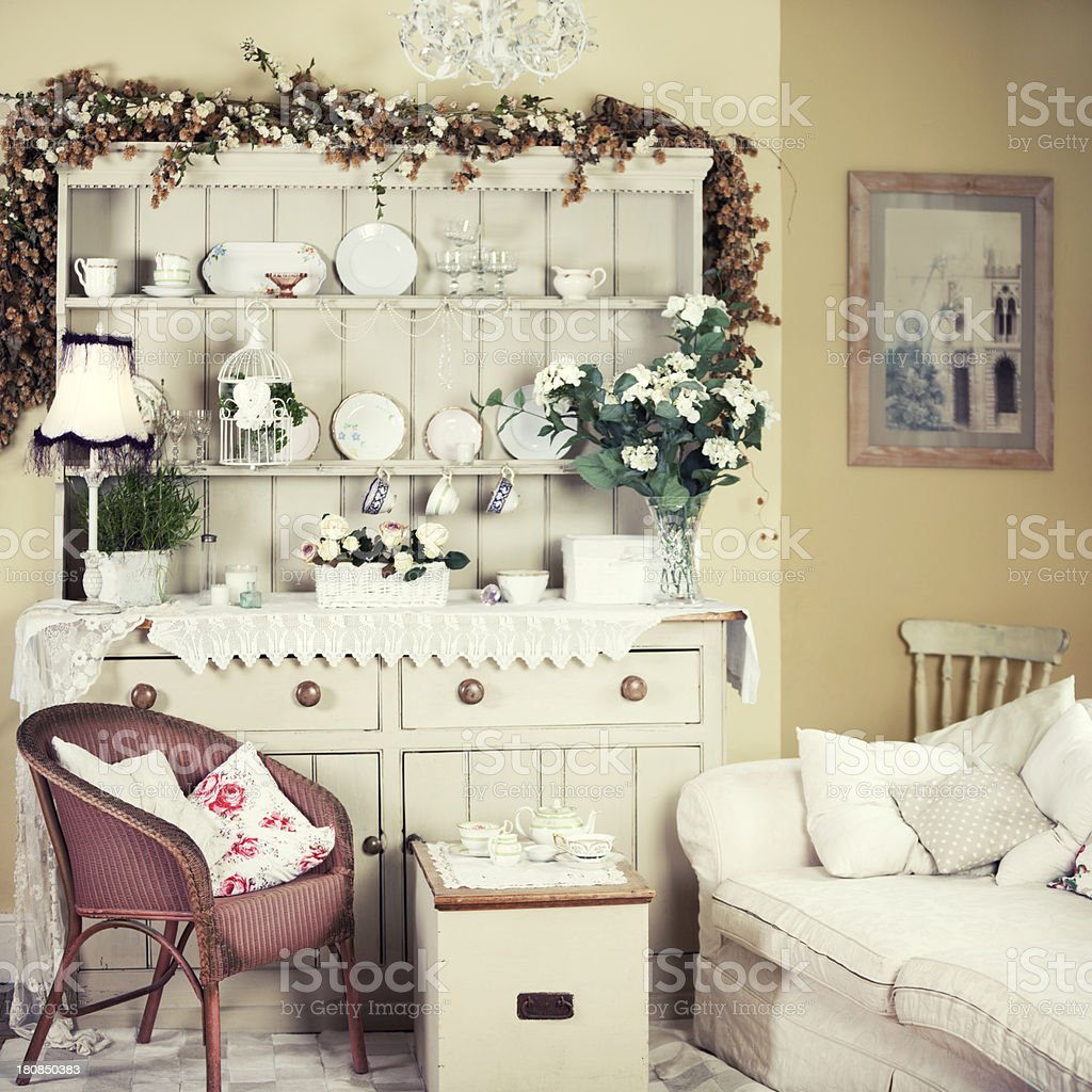 A rustic and shabby chic breakfast room stock photo