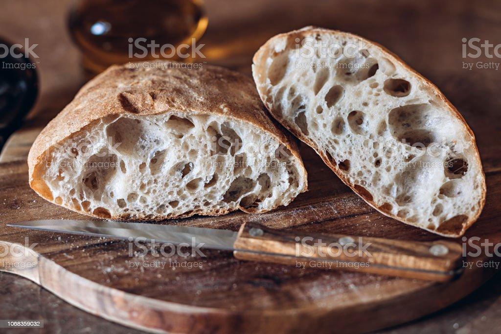 Rustic Artisan Bread Or Italian Ciabatta royalty-free stock photo
