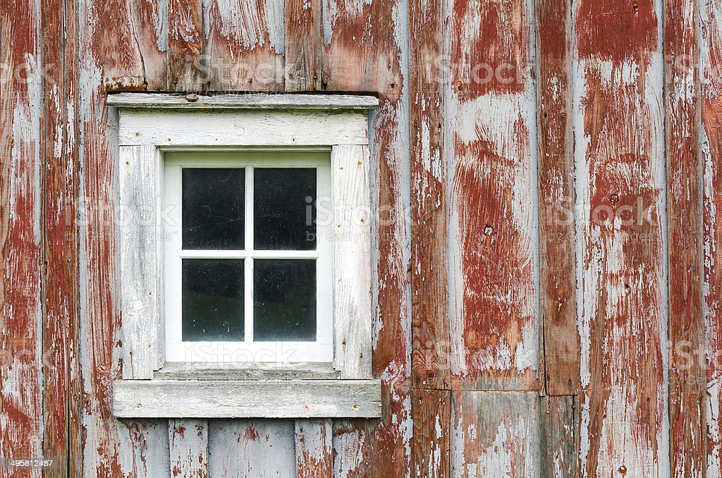 Rustic Barn Siding and Window. stock photo
