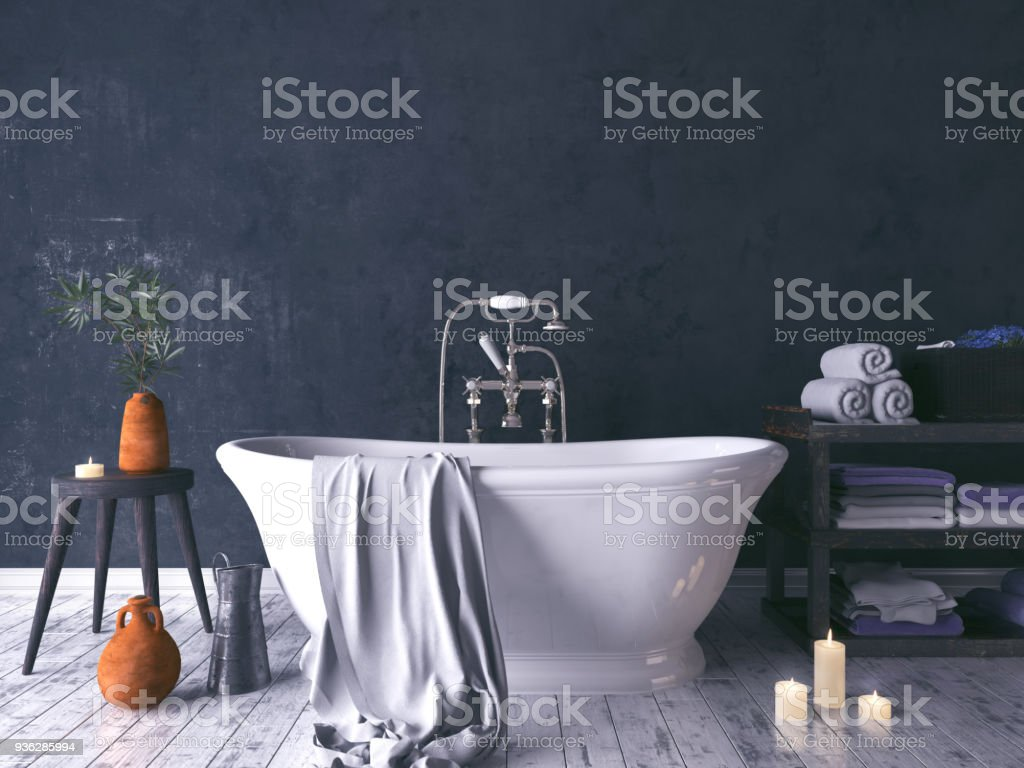 Rustic Bathroom With Old Wooden Stool stock photo