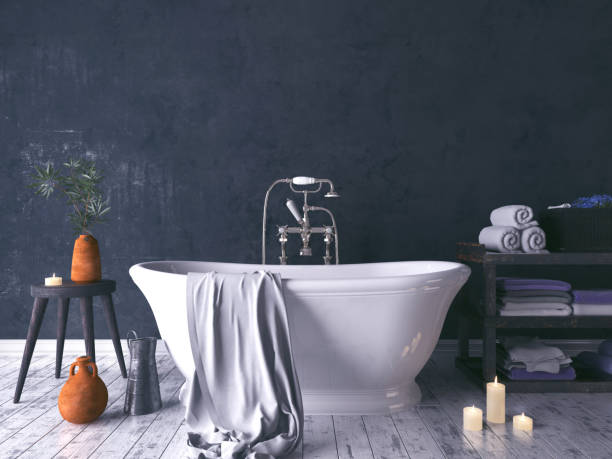 Rustic Bathroom With Old Wooden Stool Rustic Bathroom With Old Wooden Stool And Burning Candles 3d render bathtub stock pictures, royalty-free photos & images