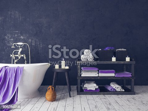 istock Rustic Bathroom With Old Wooden Stool 936286018