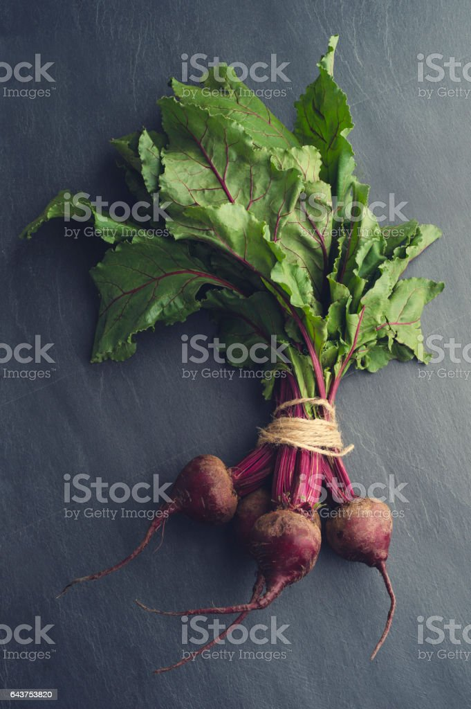 Rustic Beet bunch with string. stock photo