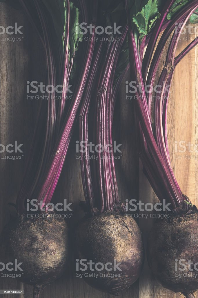 Rustic beets on wood stock photo