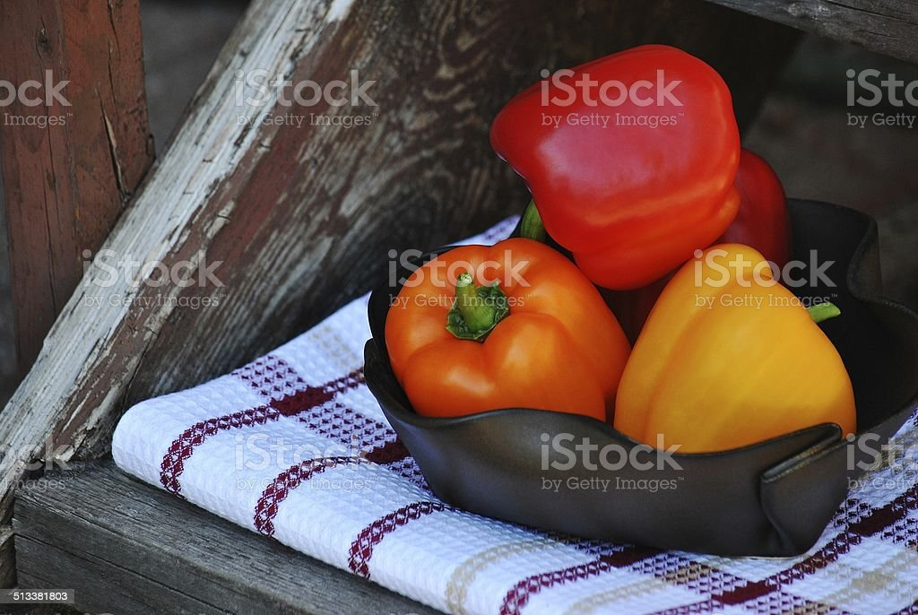 Rustic Bells - Sweet Bell Peppers stock photo