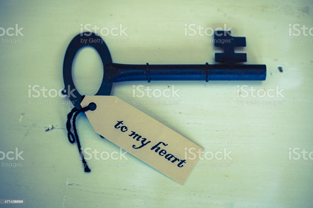 Rustic Blue Key Tag and Text Saying To My Heart royalty-free stock photo