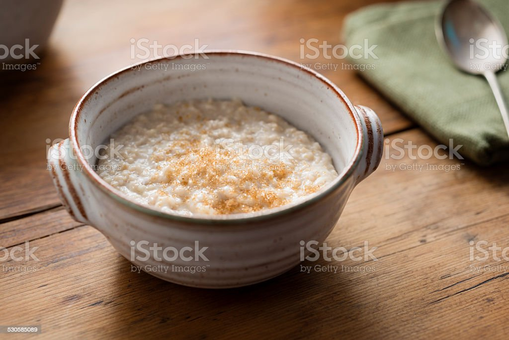 rustic Bowl filled with Porridge stock photo