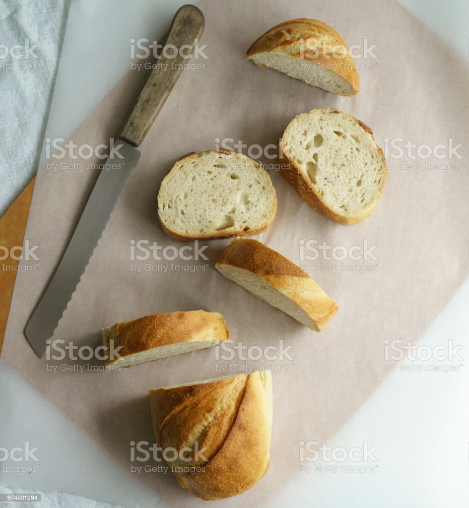 Rustic Bread and Bread Knife stock photo