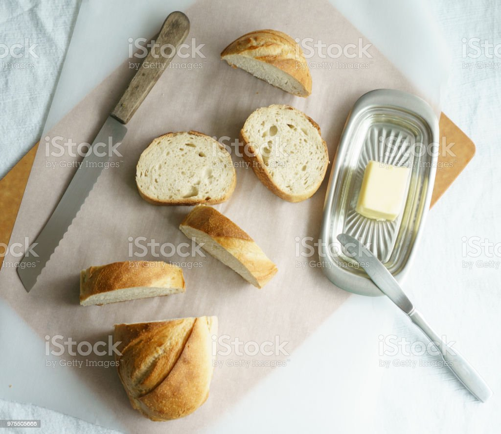 Rustic Bread and Butter stock photo