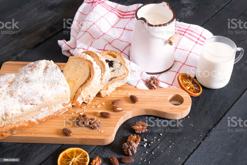 Rustic breakfast with cake and milk stock photo