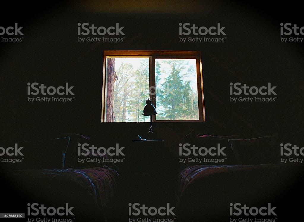 Rustic Cabin Bedroom stock photo