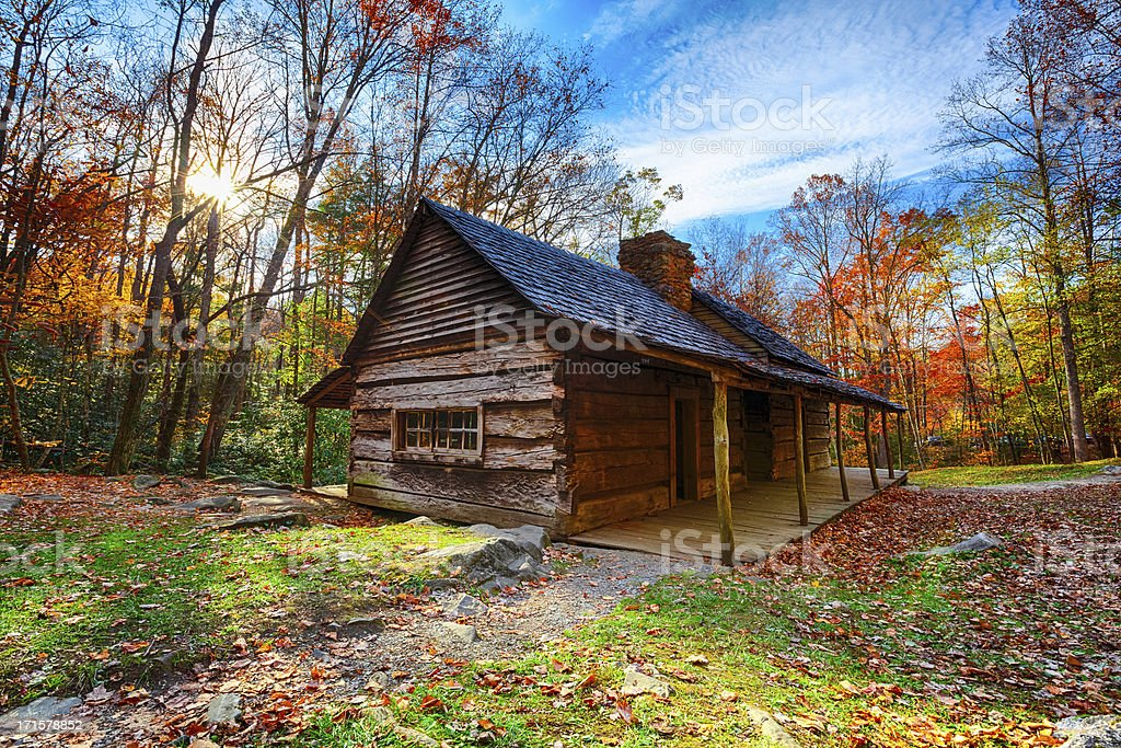 Rustic Cabin In The Great Smoky Mountains Stock Photo