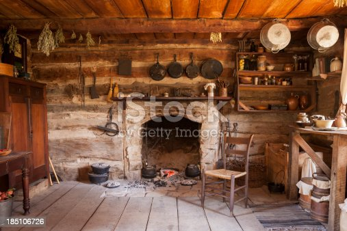 19th Century log cabin interior.