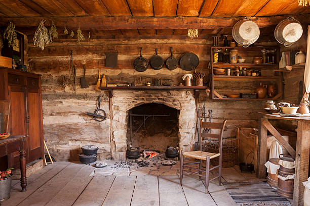 Rustic Cabin Interior stock photo