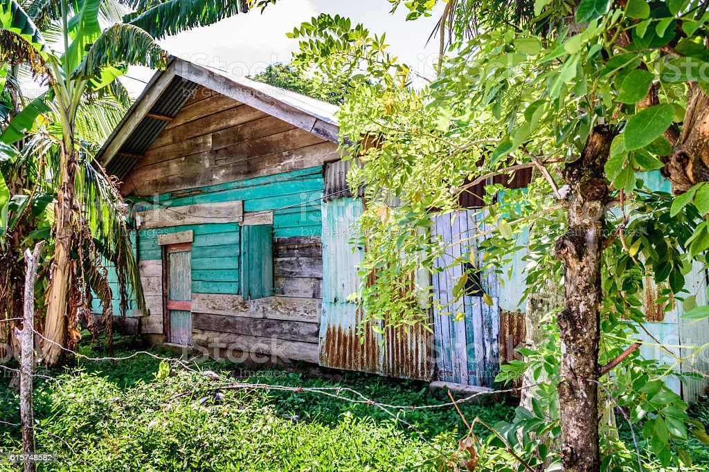 Rustic Caribbean wooden house, Guatemala stock photo