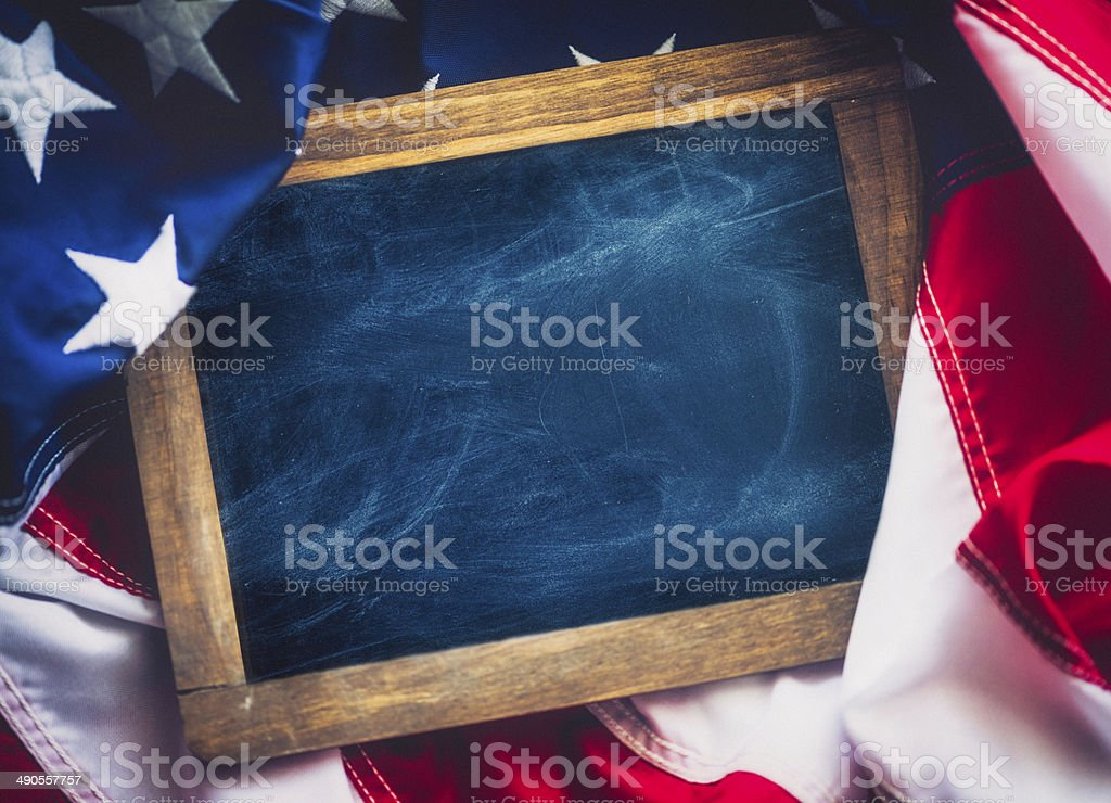 Rustic Chalkboard on American Flag stock photo