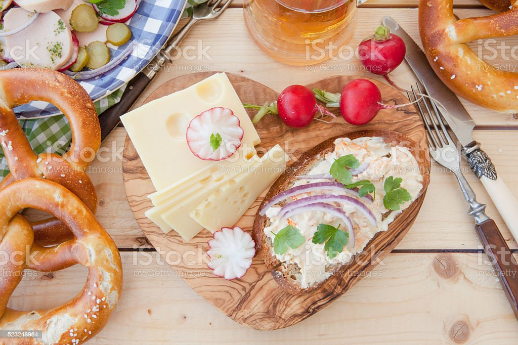 Rustic cheese platter stock photo