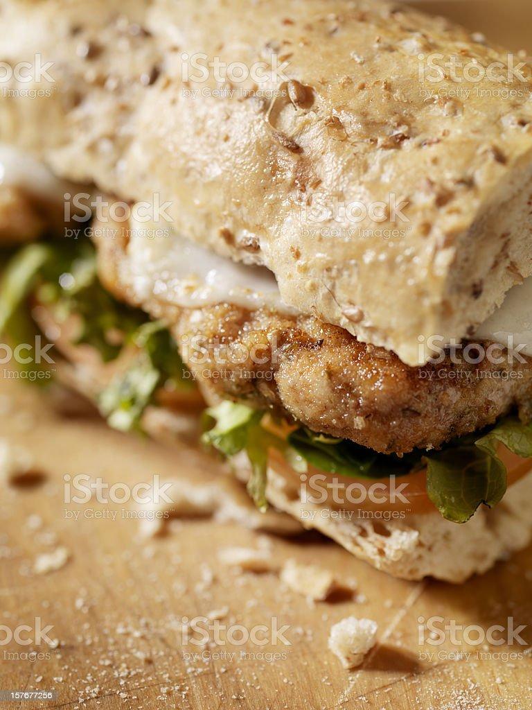 Rustic Chicken Cutlet Sandwich stock photo