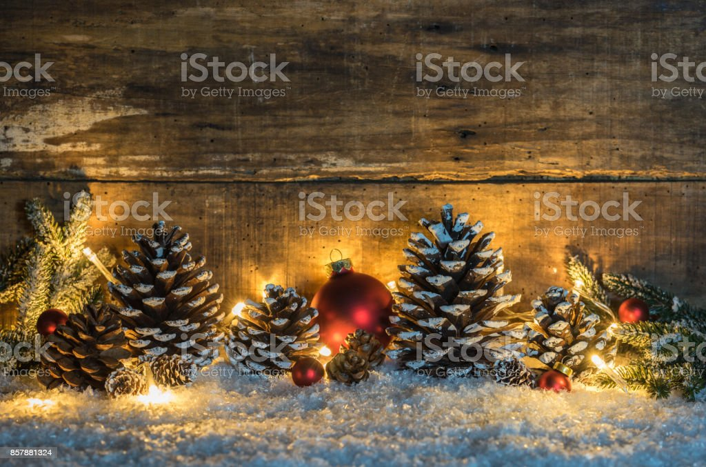 Rustic Christmas decoration with wooden background stock photo
